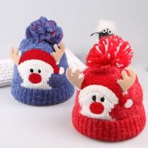Cute Carton Ekl Pattern Hairball Spliced Knit Hat for Kids