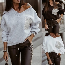 Loose Solid Color V-Neck Sequin Spliced Long Sleeve Top