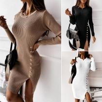 Sexy Slit Hem Long Sleeve Round Neck Solid Color Slim Fit Dress