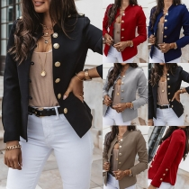 Fashion Solid Color Long Sleeve Stand Collar Single-breasted Jacket