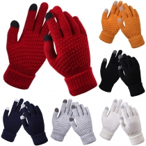 Fashion Contrast Color Knit Gloves