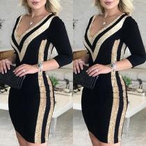 Sexy V-neck Sequin Spliced Long Sleeve Slim Fit Dress