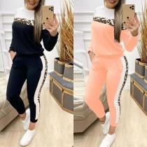 Fashion Contrast Color Leopard Spliced Long Sleeve Sweatshirt + Pants Two-piece Set