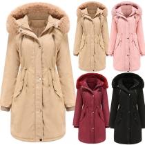 Fashion Faux Fur Spliced Long Sleeve Hooded Plush Lining Padded Coat