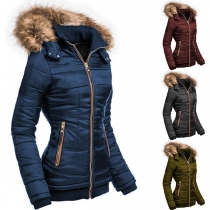 Fashion Faux Fur Spliced Hooded Solid Color Slim Fot Padded Coat