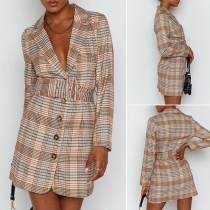 OL Style Long Sleeve Notched Lapel Plaid Blazer