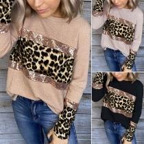 Fashion Leopard Sequin Spliced Long Sleeve Round Neck Sweatshirt