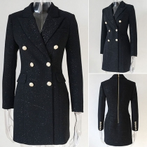 OL Style Long Sleeve Notched Lapel Double-breasted Suit Dress