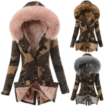 Fashion Faux Fur Spliced Hooded Plush Lining Camouflage Printed Padded Coat