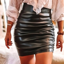 Fashion Solid Color High Waist Slim Fit PU Leather Skirt