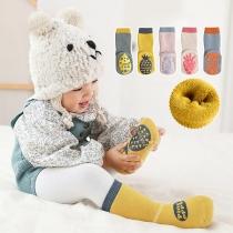 Cute Style Contrast Color Fruit Pattern Anti-slip Socks -2 Pair/Set