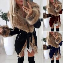 Fashion Faux Fur Spliced Long Sleeve Coat