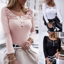 Sexy Lace Spliced Long Sleeve Round Neck T-shirt