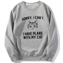 Cute Cat Letters Printed Long Sleeve Round Neck Sweatshirt