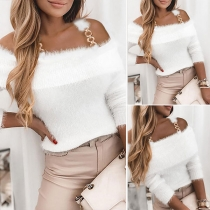 Sexy Off-shoulder Long Sleeve Chain Sling Sweater