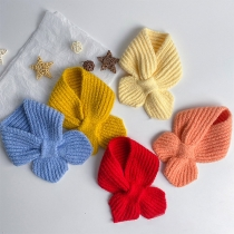 Simple Style Solid Color Knit Scarf for Kids