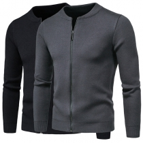 Fashion Solid Color Long Sleeve Round Neck Man's Knit Coat