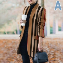 Fashion Long Sleeve Stand Collar Printed Woolen Coat
