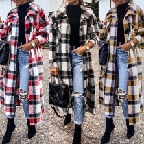Retro Style Long Sleeve POLO Collar Plaid Cardigan
