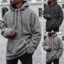 Fashion Solid Color Long Sleeve Hooded Man's Plush Sweatshirt
