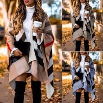Fashion Long Sleeve Irregular Hem Striped Shawl Cardigan