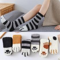 Cute Cartoon Printed Plush Socks