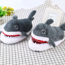 Cute Style Shark Shaped Plush Slippers