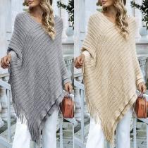 Chic Style Solid Color Irregular Tassel Hem Knit Shawl