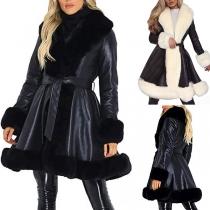 Fashion Contrast Color Long Sleeve Faux Fur Spliced Lapel Coat