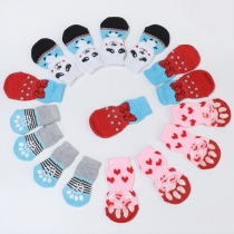 Cute Cartoon Pattern Contrast Color Socks for Pets 2 Pair/Set
