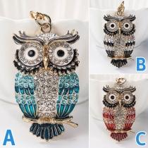 Fashion Rhinestone Inlaid Owl Shaped Pendant