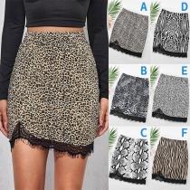 Fashion High Waist Lace Spliced Hem Slim Fit Skirt