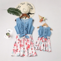 Fashion Printed Spliced Sleeveless Round Neck Parent-child Dress
