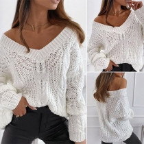 Fashion Solid Color Long Sleeve V-neck Hollow Out Knit Sweater