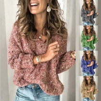 Fashion Long Sleeve V-neck Mixed Color Sweater