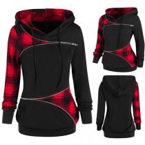 Fashion Plaid Spliced Long Sleeve Hooded Sweatshirt