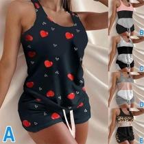 Fashion Sleeveless Round Neck Top + Shorts Home-wear Set