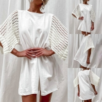 Chic Style Hollow Out Knit Short Sleeve Round Neck Loose Dress