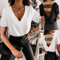 Sexy Lace Spliced Backless V-neck Short Sleeve Solid Color T-shirt