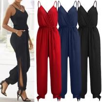 Sexy Backless V-neck Slit Hem High Waist Solid Color Sling Jumpsuit