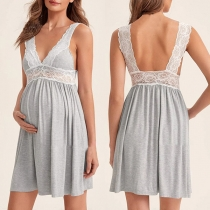 Sexy Backless V-neck Lace Spliced Sling Maternity Dress