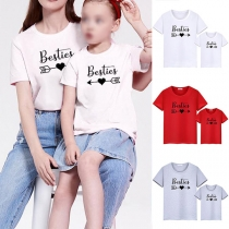 Simple Style Letters Printed Short Sleeve Round Neck Parent-child T-shirt
