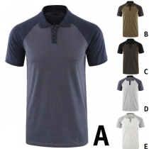 Fashion Contrast Color Short Sleeve POLO Collar Man's T-shirt