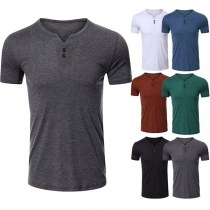 Casual Style Short Sleeve V-neck Solid Color Man's T-shirt