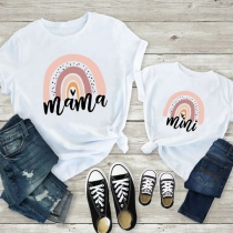 Casual Style Short Sleeve Round Neck Printed Parent-child T-shirt
