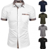 Fashion Plaid Spliced Short Sleeve POLO Collar Man's Shirt