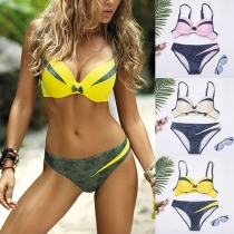 Sexy Low-waist Contrast Color Push-up Bikini Set