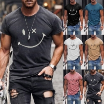 Casual Style Short Sleeve Round Neck Smiling Face Printed Man's T-shirt