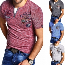 Casual Style Short Sleeve V-neck Man's T-shirt