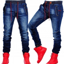 Casual Style Elastic Drawstring Waist Relaxed-fit Man's Jeans